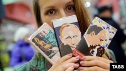 Шоколадные плитки с головой Путина на обертке