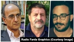 Three prisoners who recently died in custody. L-R, Iranian-Canadian environmentalist Kavous Seyed-Emami, Mohammad Raji, a member of Iran's persecuted Gonabadi Dervishes and Sina Ghanbari, Iranian protester.