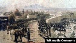 Rəssam Frans Rubo bu rəsmi 1827-ci ildə çəkmişdi və onu «1827-ci ilin 1 oktyabr tarixində İrəvan qalasının ruslara təslim edilməsi» adlandırmışdı.