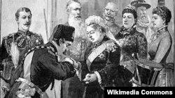 تصویرسازی از دیدار ناصرالدین شاه با ملکه ویکتوریا در لندن.