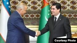 Türkmenistanyň prezidenti G.Berdimuhamedow we Özbegistanyň prezidenti Yslam Karimow, 2014.