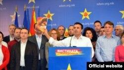 Лидерот на опозицискиот СДСМ, Зоран Заев, на прес-конференција во Скопје.