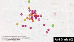 Карта на нивата на азотен диоксид за септември 2019