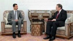 Сирия президенті Башар Асад (сол жақта) пен Ресей сыртқы істер министрінің орынбасары Михаил Богдановтың кездесуі. Дамаск, 29 тамыз 2011 жыл.