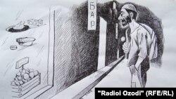 کاریکاتوری از روزنامهنگار اهل تاجیکستان، فرخ احرارف.