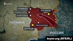 Карта с указанием украинских городов, где шли бои и в которых побывал боевик Владимир Дусмуханов