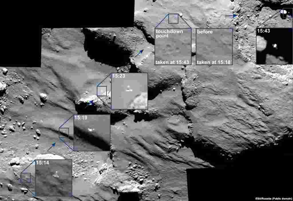 This photograph shows the journey of Rosetta's Philae lander as it approached and then rebounded from its first touchdown on Comet 67P/Churyumov–Gerasimenko on November 12. (European Space Agency)