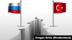 Государственные флаги России и Турции. Иллюстративное фото.