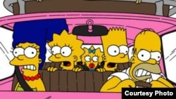 The Simpsons: Marge, Lisa, Maggie, Bart, and Homer (left to right)