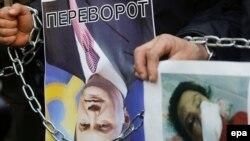 Акция протеста против избиения журналистки у здания МВД Украины в Киеве