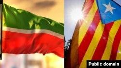 Флаги Татарстана и Каталонии