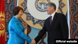 EU foreign-policy chief Catherine Ashton meets Kyrgyz President Almazbek Atambaev in Bishkek.
