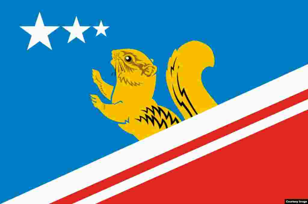 The flag of Vovchansk in the Sverdlovsk region. The rodent is cute. There's a neat detail, too: The three stars represent the district's three places by order of size (one city, one village, one small village). Except...the smallest village actually had a population of zero and officially disappeared two months ago.