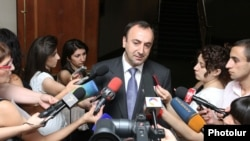 Armenia -- Justice Minister Hrayr Tovmasian talks to the media after presenting a new program of judicial reforms, Yerevan, 24July, 2012.