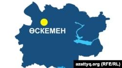 Усть-Каменогорск на карте Восточно-Казахстанской области. Иллюстративное фото.