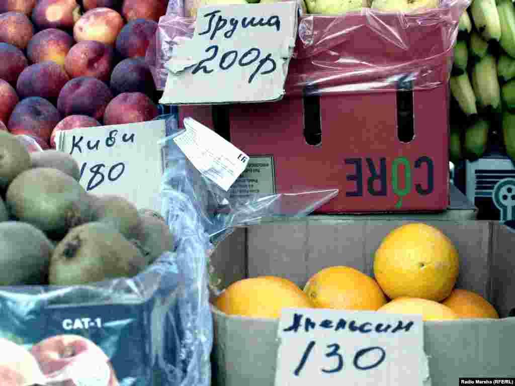 Мехаш: кхор - 200, киви- 180, апелсин - 130 сом