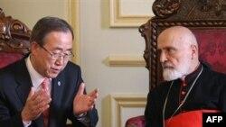 آقای بان با کاردينال نصرالله صفير، رهبر معنوی جامعه مسيحيان مارونی لبنان دیدار کرد.