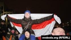 Ряд участников акции протеста в Минске. Беларусь, 19 декабря 2010 г. (Беларусская служба РСЕ/РС).