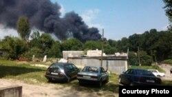 Пажар на будаўнічай пляцоўцы амфітэатра быў відаць здалёк, фотаhorki.info