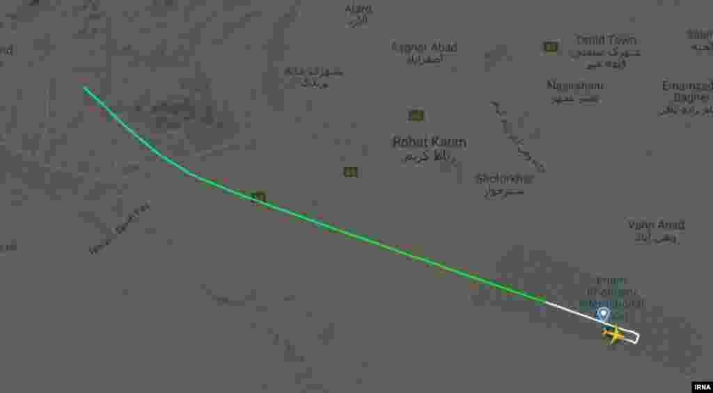 Flight-tracking data shows a Ukrainian airliner in Iran soon after take off near Tehran on January 8.