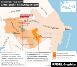 Зона конфликта между Арменией и Азербайджаном