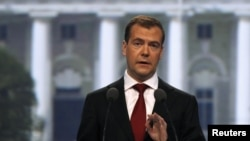 Russian President Dmitry Medvedev delivers a speech at the St. Petersburg International Economic Forum on June 17.
