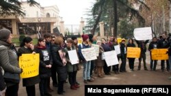 Protestersi n Tbilisi demand Khadija Ismayilova be freed on December 10.