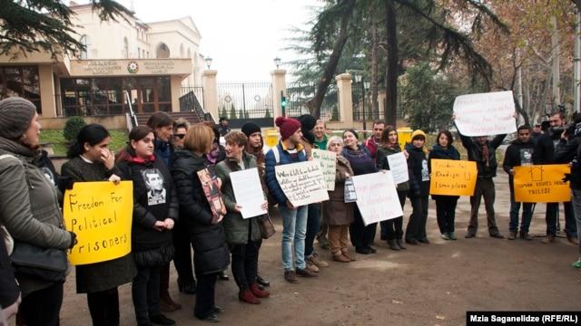 Protestersi n Tbilisi demand Khadija Ismayilova be freed  on December 10.