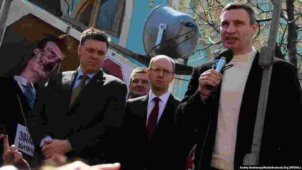 Opposition leaders Oleg Tyagnibok, Arseniy Yatsenyuk and Vitaliy Klitschko