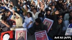 Members of Pakistan's Pashtun Protection Movement (PTM) stage a demonstration Lahore late last month.