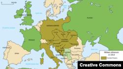 Европа перед 1-й мировой: страны Антанты (обозначены зеленым), Центральные державы (коричневым) и нейтральные страны (бежевым)
