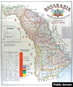 Harta etnografică a Basarabiei, de Alexis Nour