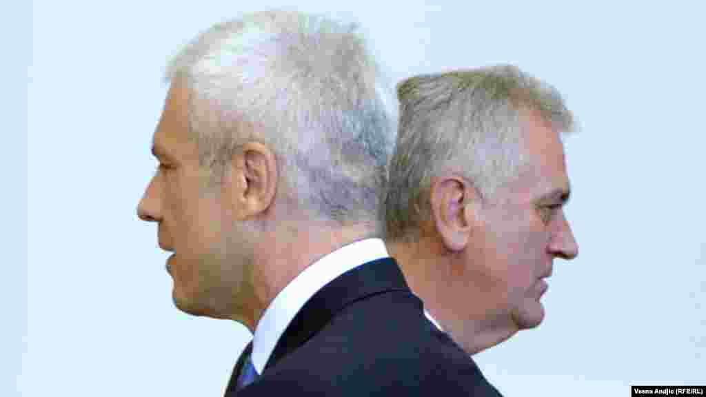 Serbian President Tomislav Nikolic (right) and his predecessor, Boris Tadic, at the inauguration ceremony in Belgrade on June 11. (RFE/RL-Vesna Andjic)