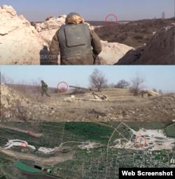 Труби доломітного заводу на кадрах та на знімках з супутника, позиції бойовиків – місце зйомки (трикутник)
