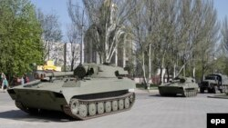 Нові важкі озброєння, отримані сепаратистами, Донецьк, фото 27 квітня 2015 року