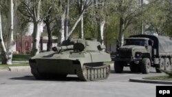 Боевая техника сепаратистов в Донецке, апрель 2015