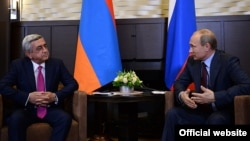 Russia -- Russian President Vladimir Putin meets his Armenian counterpart Serzh Sarkissian in Sochi, 9Aug2014