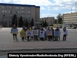 Сотрудники ДонГТУ напротив областной администрации в Северодонецке