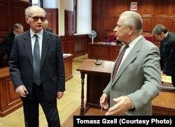 Войцех Ярузэльскі і Чэслаў Кішчак на судовых слуханьнях па справе шахты «Вуек»