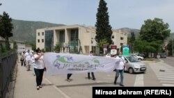 Udruženje građana 'Jer nas se tiče' iz Mostara, održalo je protestnu šetnju, kojom su zatražili konačno održavanje lokalnih izbora u Mostaru, 16 maj 2020.