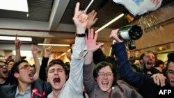 هواداران اولاند پس از پیروزی