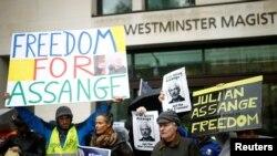 Акция в поддержку Ассанжа, Лондон, 21 октября 2019 года.