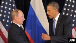 "The Ukraine crisis appears to have scuppered efforts by President Barack Obama (right) and his administration to ""reset"" Washington's relationship with Russia and President Vladimir Putin. (left)"