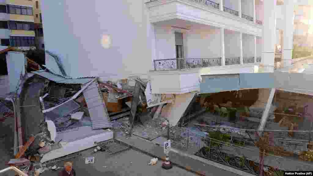 Damage to a hotel in Durres, which reportedly suffered some of the worst destruction. The city is a popular tourist destination in summer.