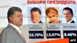 Ուկրաինա - Պետրո Պորոշենկոն նախագահական ընտրությունների արդյունքները ցույց տվող էկրանի դիմաց, Կիև, 26-ը մարտի, 2014թ․