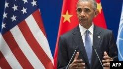 Президент США Барак Обама выступает в Ханчжоу. 3 сентября 2016 года.