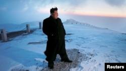 Ким Чен Ын на горе Пэкту