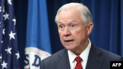 U.S. Attorney General Jeff Sessions participates in a news conference to announce the reconstituted travel ban at the U.S. Customs and Borders Protection headquarters in Washington on March 6.