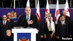 Newly elected President Giorgi Margvelashvili takes the oath during his inauguration ceremony in Tbilisi on November 17.