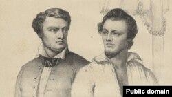 Паўстанцы Міхал Валовіч і Артур Завіша каля шыбеніцы, гравюра М. Ходзькі, фрагмэнт